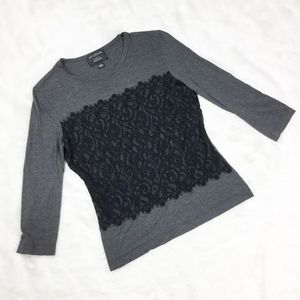 St. John Black Lace Gray 3/4 Sleeve Top sz. Small